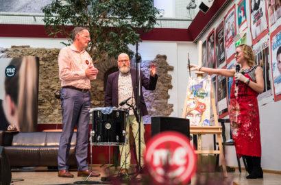 """Michael Ebling, Andreas Toschka und Bianca Wagner bei der Vorstellung """"Künstler für Michael Ebling"""" am 13. Oktober 2019 im Mainzer Unterhaus"""